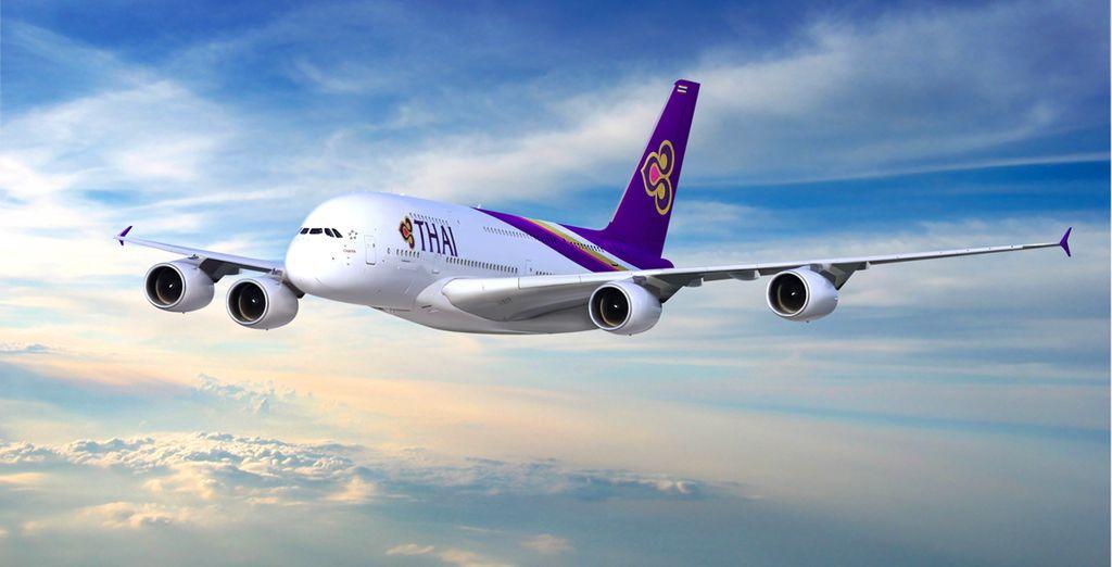 Pour rejoindre ce beau pays, envolez-vous en A380 avec la compagnie Thaï Airways