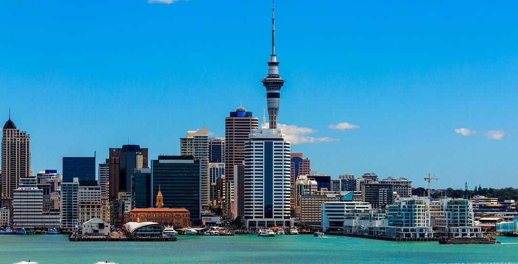 Die berühmte Stadt Aukland in Neuseeland