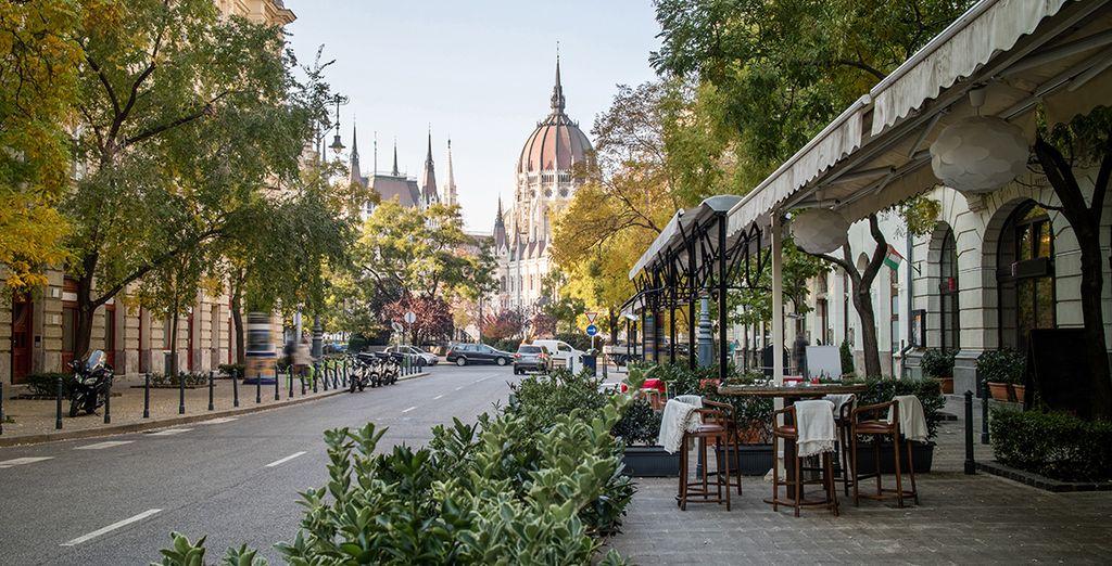 Sie sind in der Nähe von Dutzenden von Restaurants und Cafés in Budapests kulturellem jüdischen Viertel