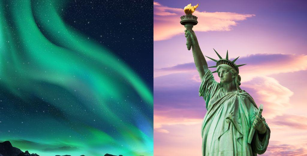 Bewundern Sie die berühmten Nordlichter und erkunden Sie die pulsierende Stadt New York