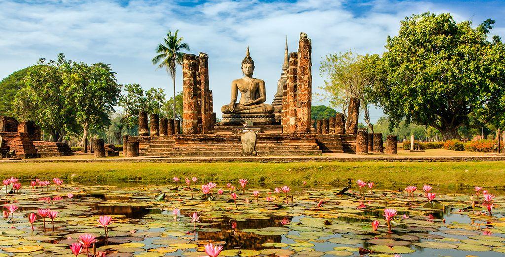 Enmarque el recuerdo de Wat-Mahathat, Sukhothai, en su memoria