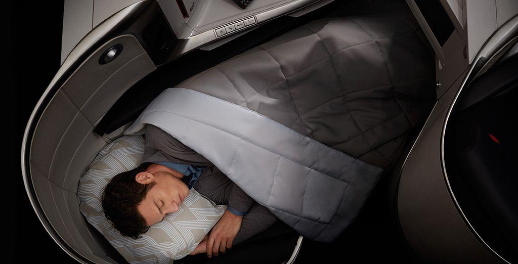 Te recomendamos viajar en la Clase Business de Air France, con un asiento convertible en una cama de 2 metros