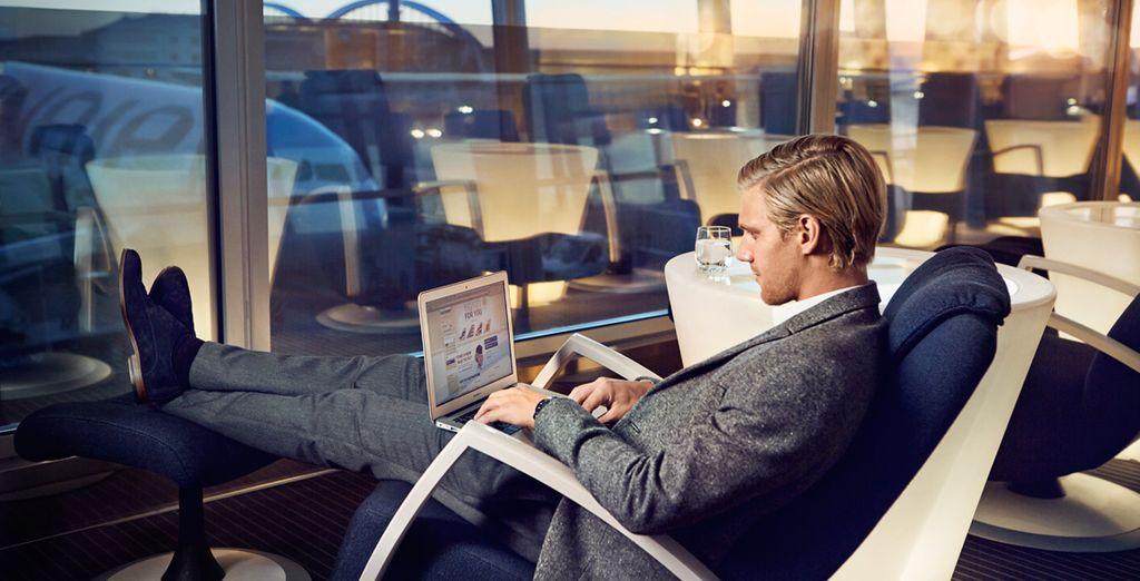 Con tu billete de clase Business, podrás acceder gratuitamente a las exclusivas salas que Finnair tiene en el aeropuerto de Helsinki