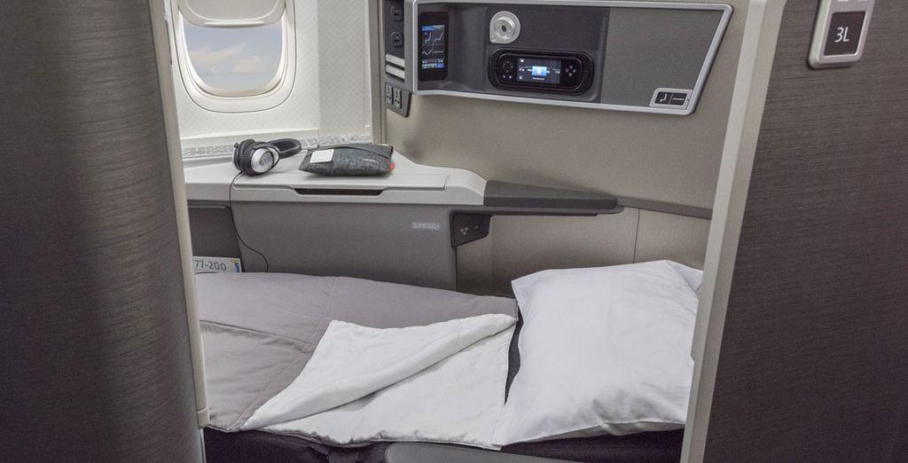 Todos los vuelos de American Airlines entre España y Estados Unidos incluyen asientos en Business Class totalmente reclinables