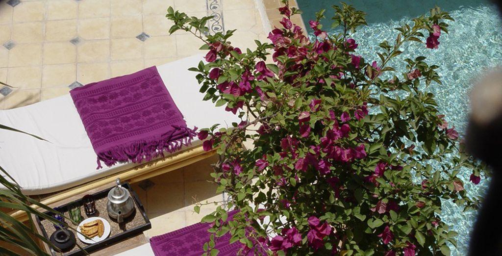 Relájese mientras toma el sol al lado de la piscina