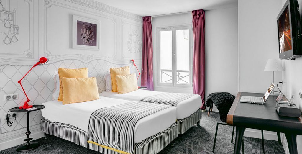Con una cama doble o dos individuales