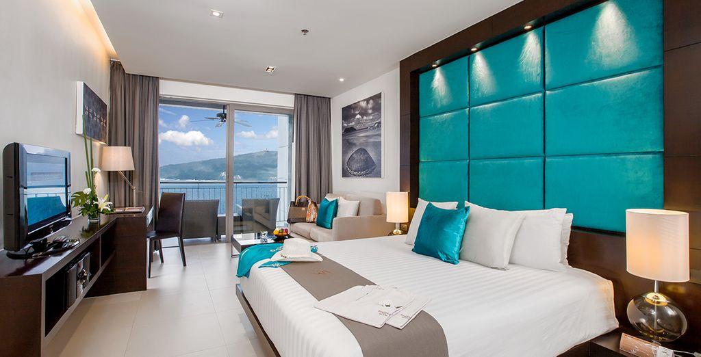 Descansa en tu moderno y equipado estudio con vistas al mar...