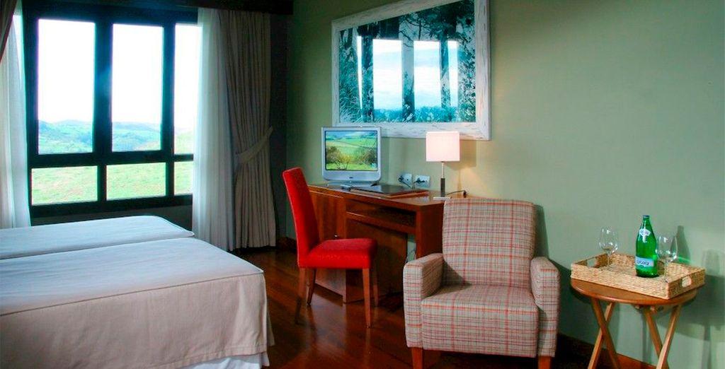 Descansarás en una habitación Doble inspirada en la naturaleza asturiana