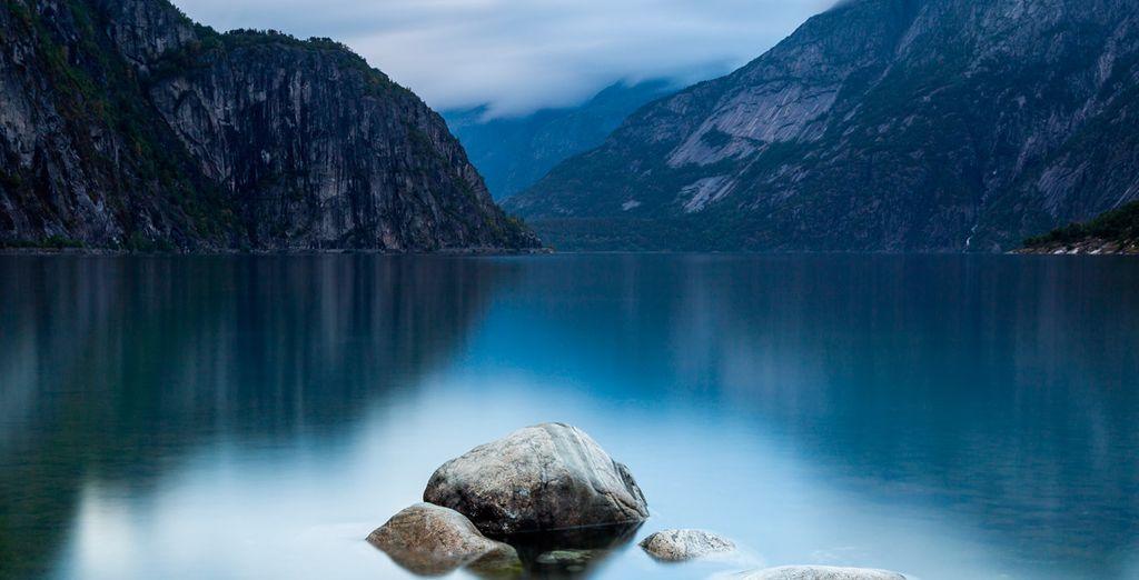 El lago Eidfjordvatnet, una zona de pesca muy popular en Noruega