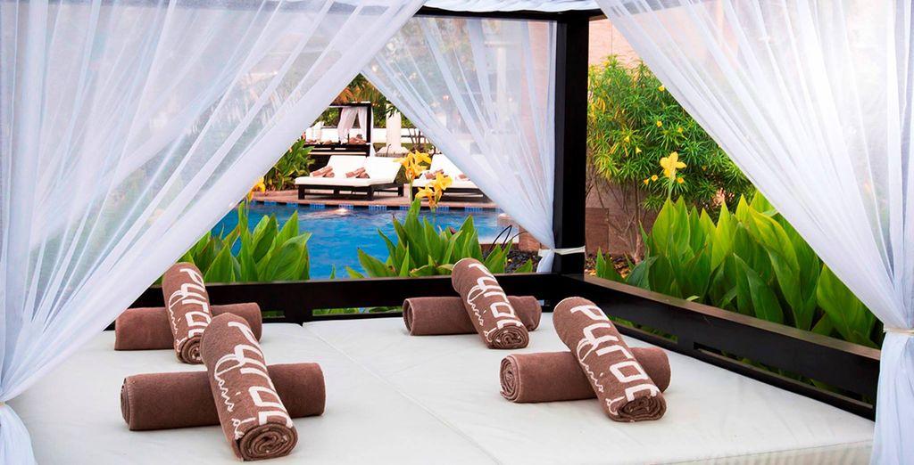 Incluso podrás relajarte en las camas balinesas