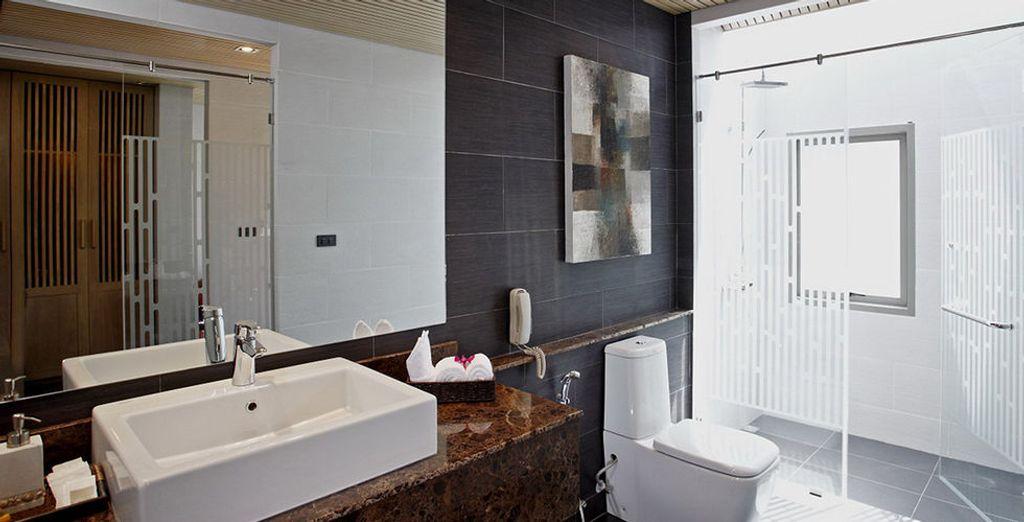 Moderno incluso en los baños