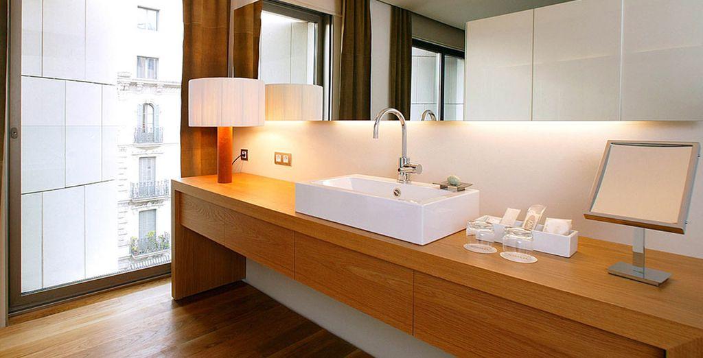 El baño invita a relajarte