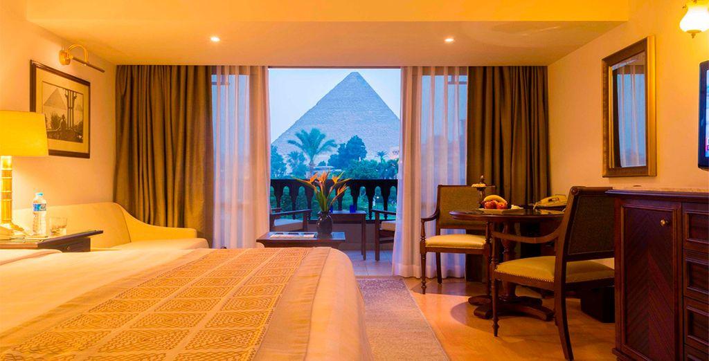 Tu habitación en el Hotel Mena House 5* con vistas a las Pirámides