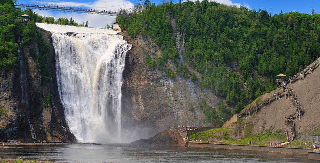 Las cataratas de Montmorency son las más altas de la provincia de Quebec, con 83m de altura