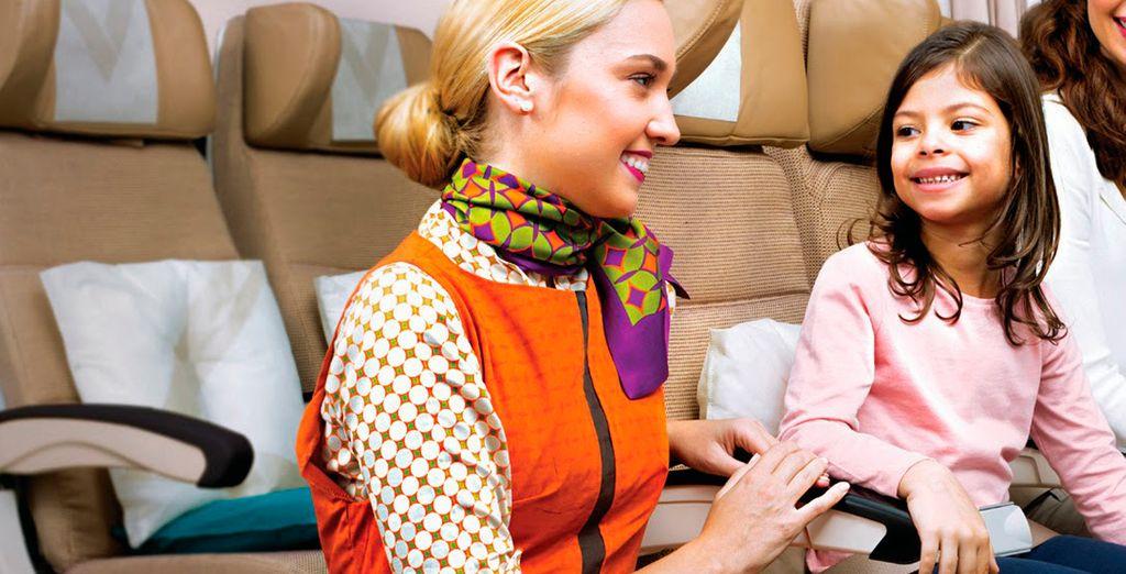 La aerolínea busca plasmar lo mejor de la hospitalidad árabe, mostrándose refinada, atenta, cálida y generosa
