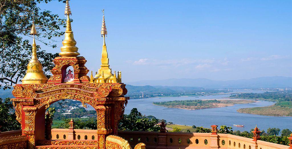 Contempla el Triángulo de oro, donde convergen Birmania, Laos y Tailandia