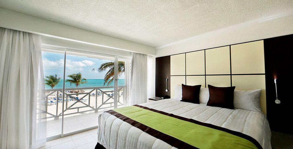 Descansarás en una fantástica habitación con vistas al océano