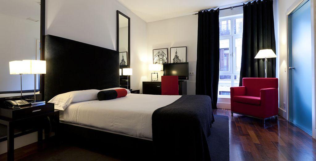 Et découvrez la chambre moderne et confortable que nous vous avons réservé