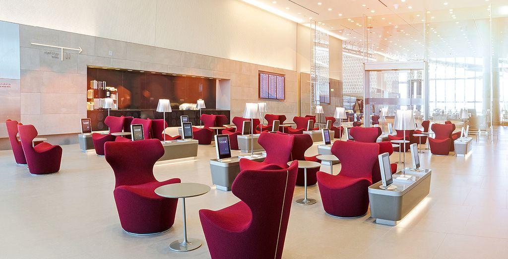 Avec accueil privilégié dans un salon dédié à l'aéroport