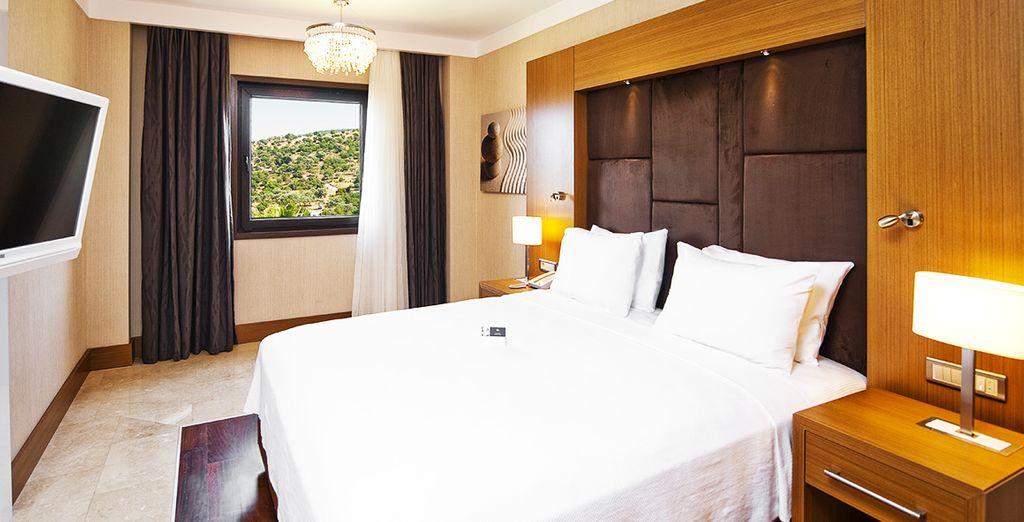 Vous vous installerez dans une chambre standard, confortable & cosy...