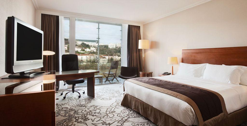 Hôtel haut de gamme avec chambre double confortable et sur panoramique sur la ville de Lyon
