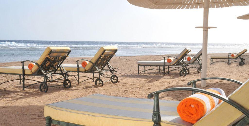 Sur la plage privée à votre disposition...
