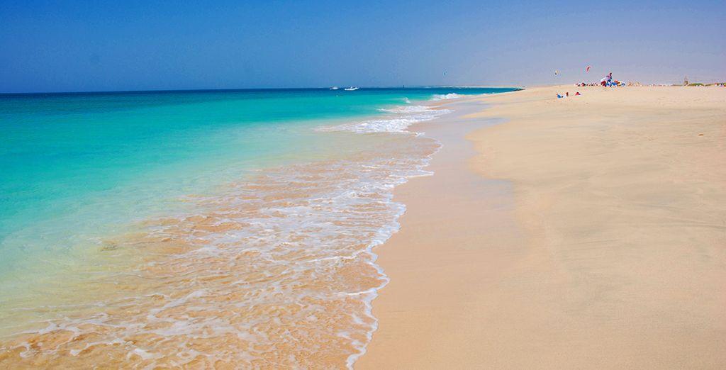 Bordé par une plage de sable blanc et une mer turquoise