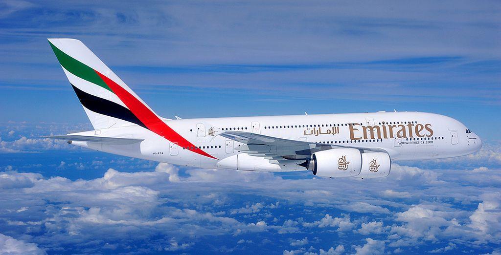 Et pour que tout soit parfait, voyagez avec la compagnie Emirates...