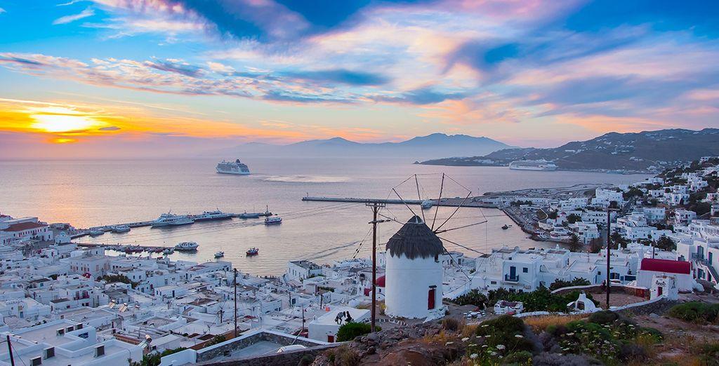 Photographie de la ville de Chora à l'êle de Mykonos en Grèce