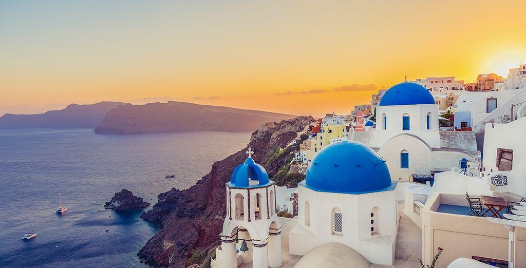 Photographie de l'île de Santorin en Grèce et ses magnifiques paysages