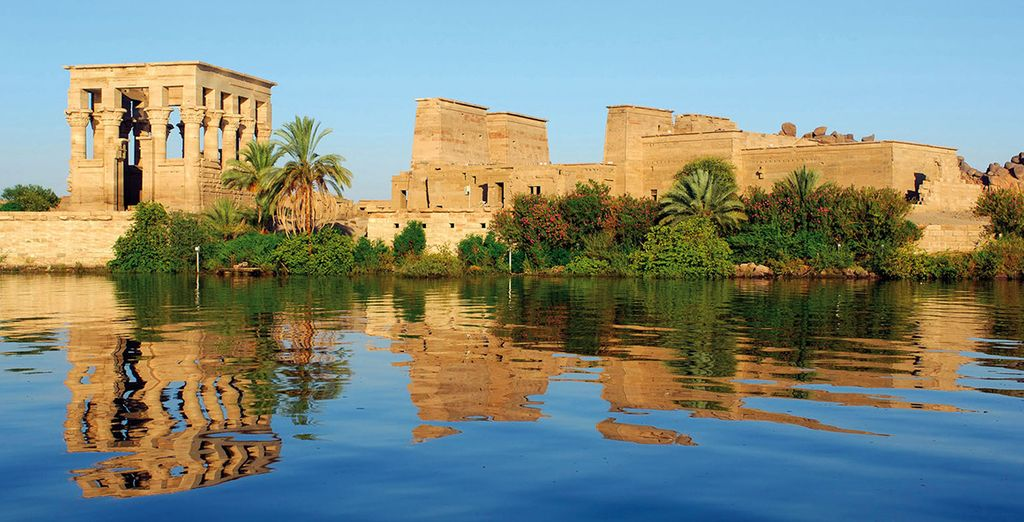 Vue du temple de philae depuis le Nil
