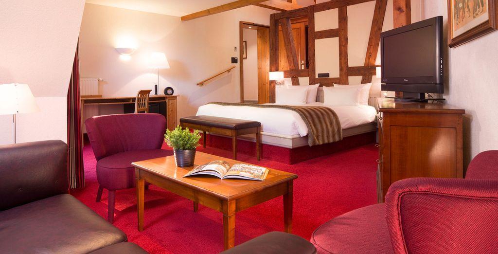 Ou en chambre Deluxe, vous apprécierez cet espace aussi agréable que confortable