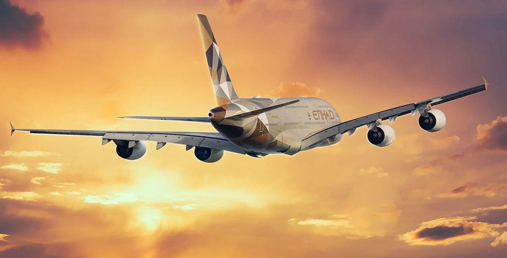 Pour rejoindre ces vacances de rêve, vous voyagerez à bord de la compagnie Etihad Airways...