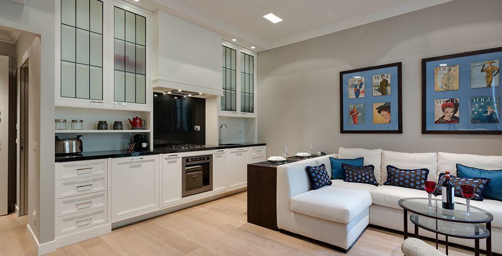 Votre salon design et chaleureux - Appartement 1 chambre jusqu'à 4 personnes Florence