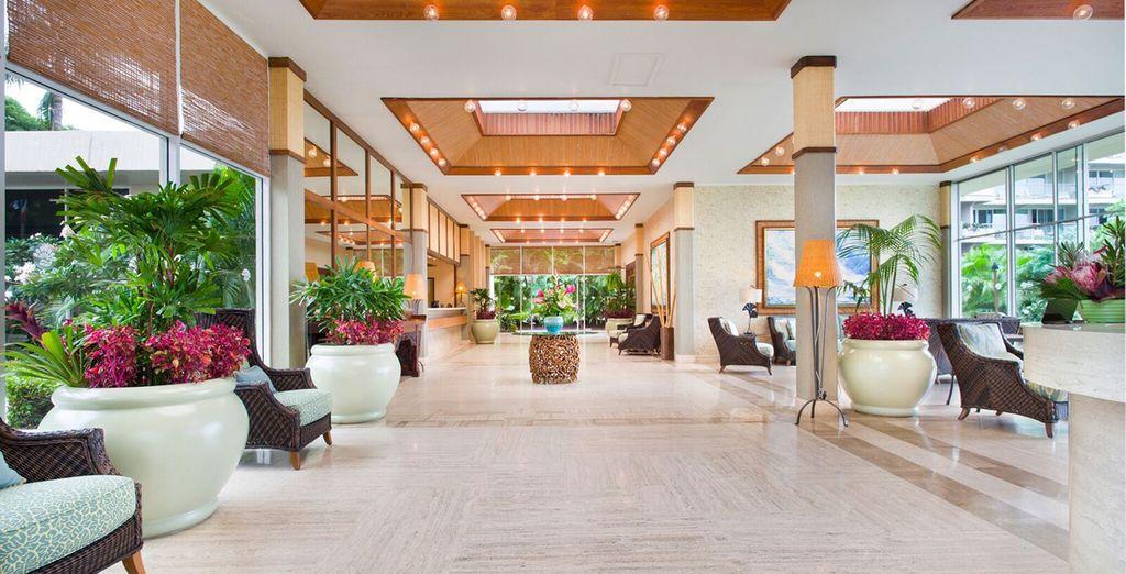 Hôtel haut de gamme 5 étoiles tout confort à Hawaii avec piscine et chambre double spacieuse