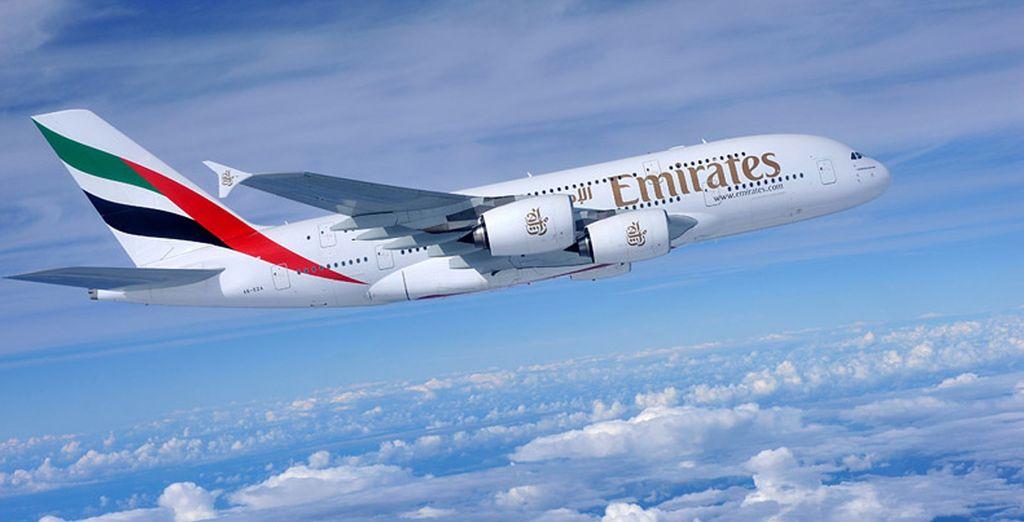 Vous voyagerez en classe affaires avec la compagnie Emirates