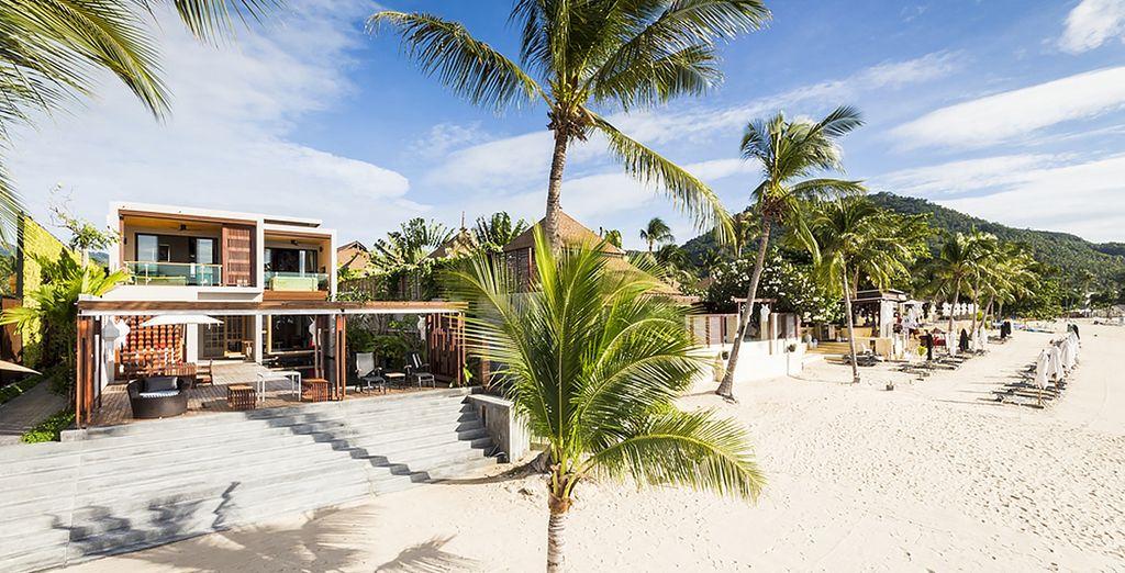 De ce bel hôtel bordant la plage...