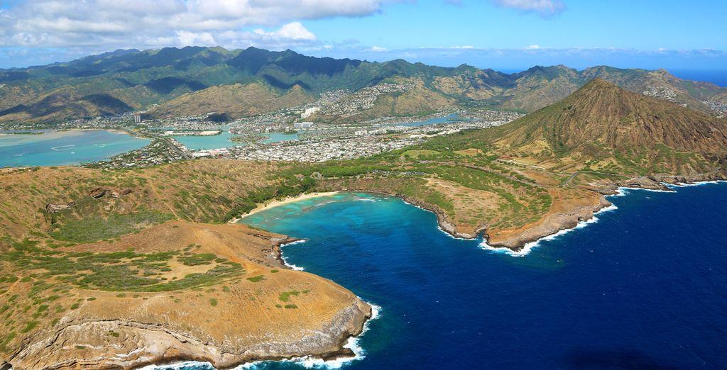 Paysages de l'île Oahu et de son volcan Diamond Head