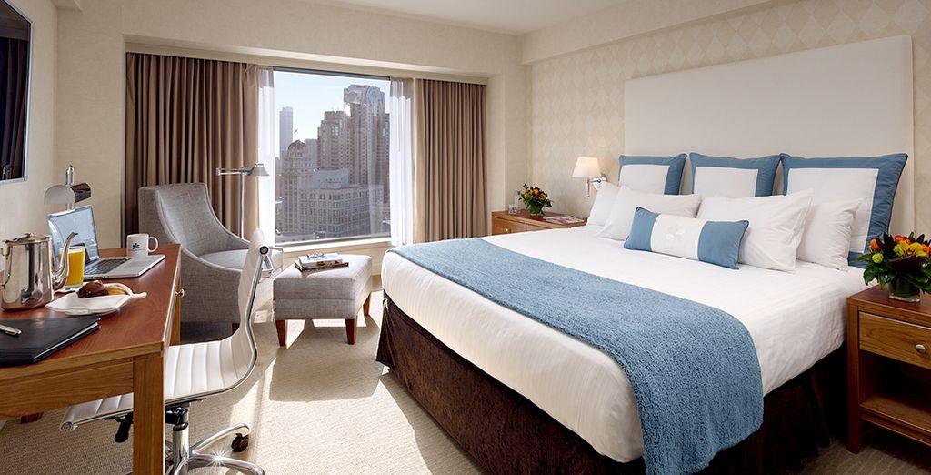 Hotel di lusso a San Francisco, camera doppia con vista sulla città e vicino a tutte le attività.
