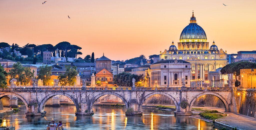 Fotografia della città di Roma e della Basilica di San Pietro