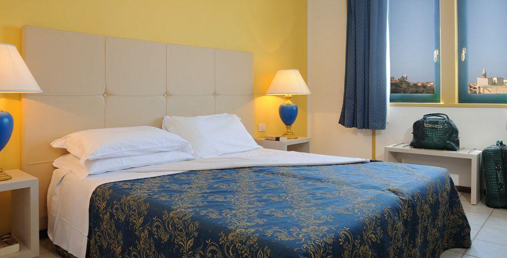 Potrete riposarvi nella vostra elegante camera