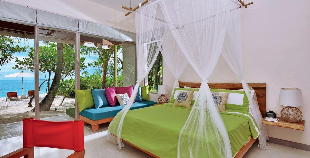 oppure eleganti Deluxe Beach Villa, ancora più ampie e confortevoli
