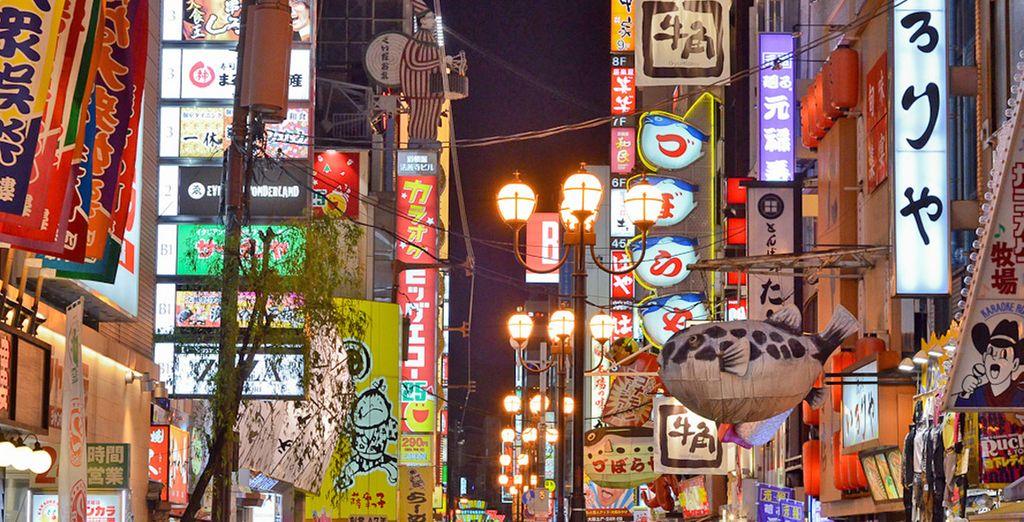 Fotografia dei quartieri circostanti della città di Osaka in Giappone