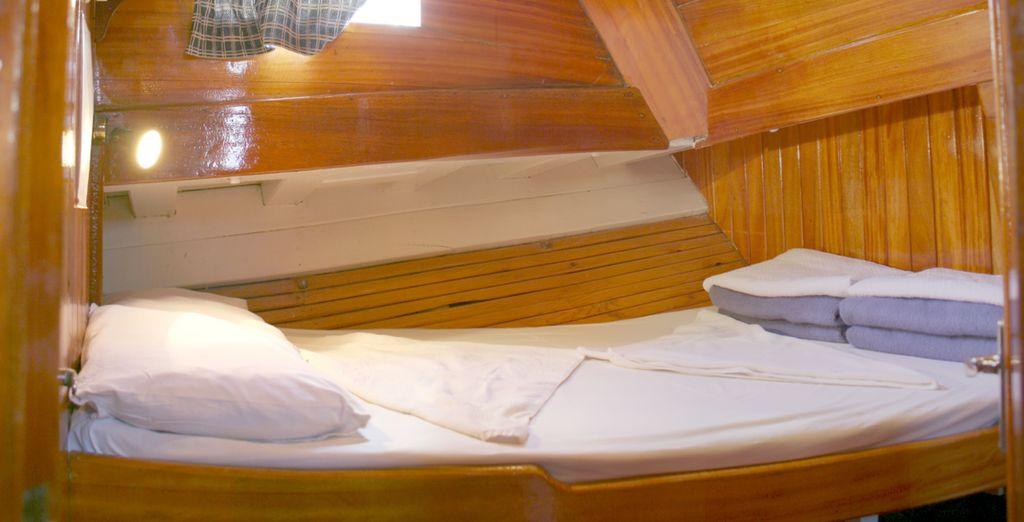 Con sistemazione in cabine classiche dotate di tutti i comfort per un piacevole soggiorno