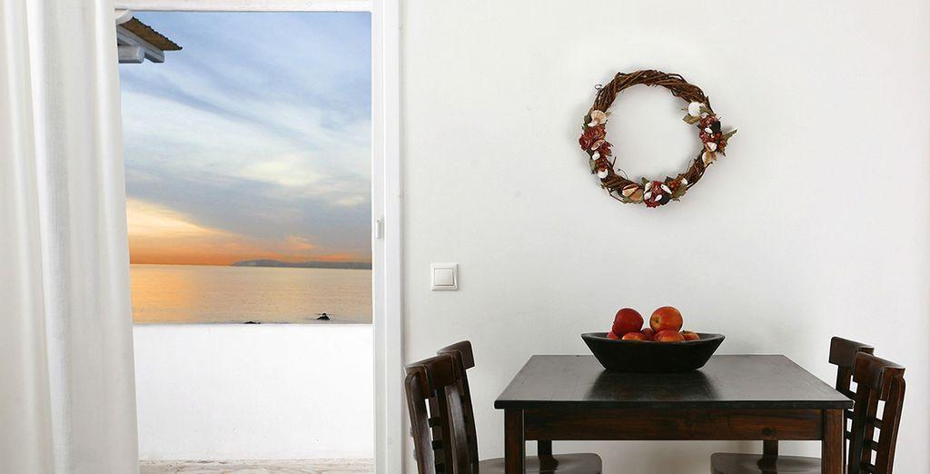 Ambienti con decorazioni tradizionali di Mykonos