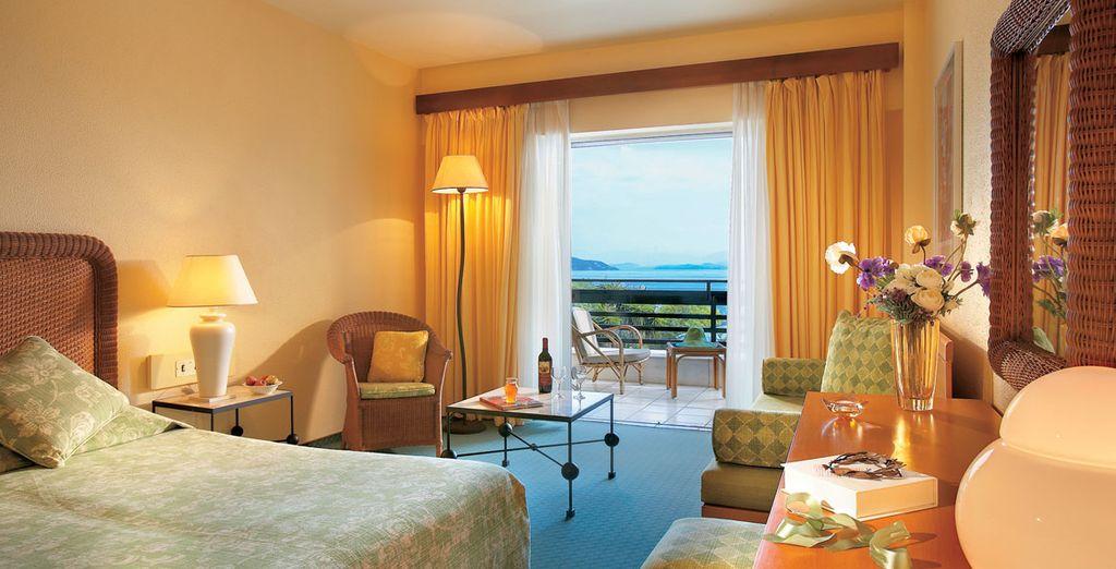 rilassatevi in splendide camere Standard vista mare o in Family Bungalow vista giardino