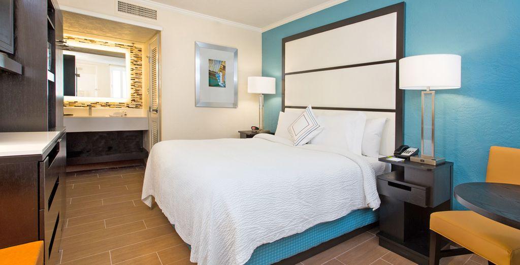 Un hotel al top di gamma a Miami con tutti i comfort, camera doppia e vista panoramica sull'oceano