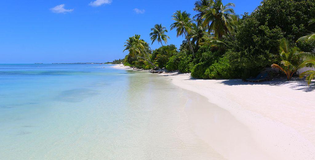 Met zijn privéstrand van wit zand en turquoise water