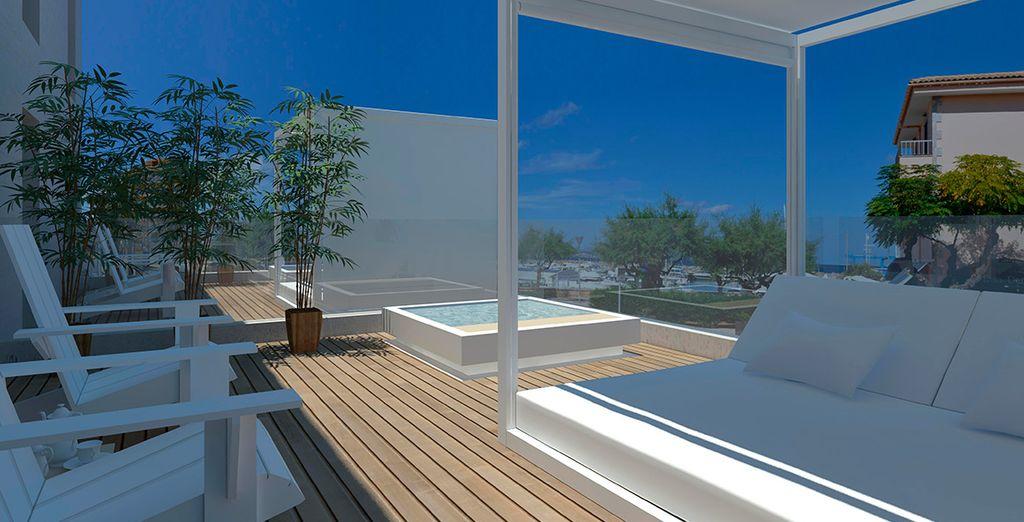 Lekker zonnebaden op het terras