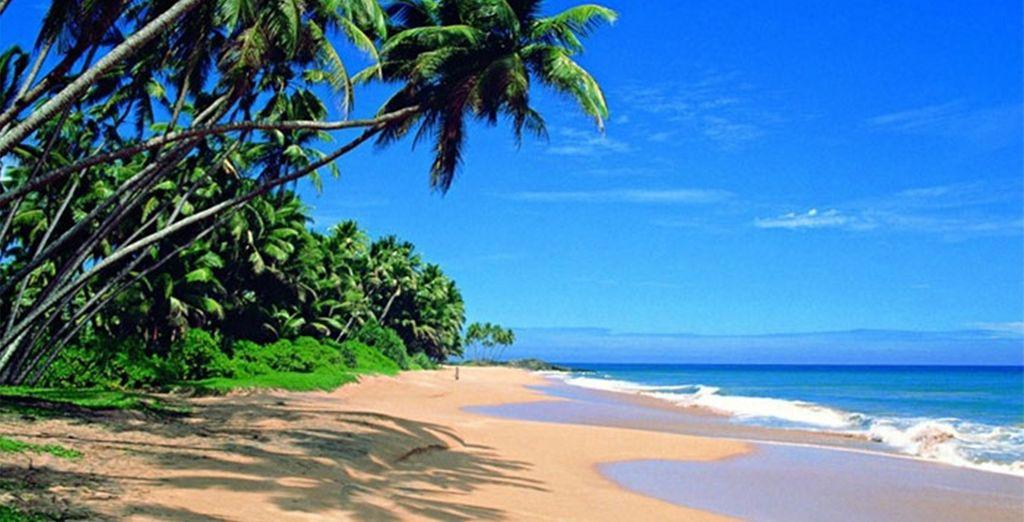 Languit op het strand